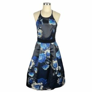 ELIZA J Floral Jacquard Black Blue Midi Dress 8